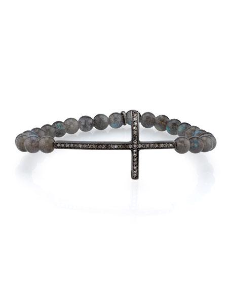 6mm Labradorite Bracelet with Diamond Cross