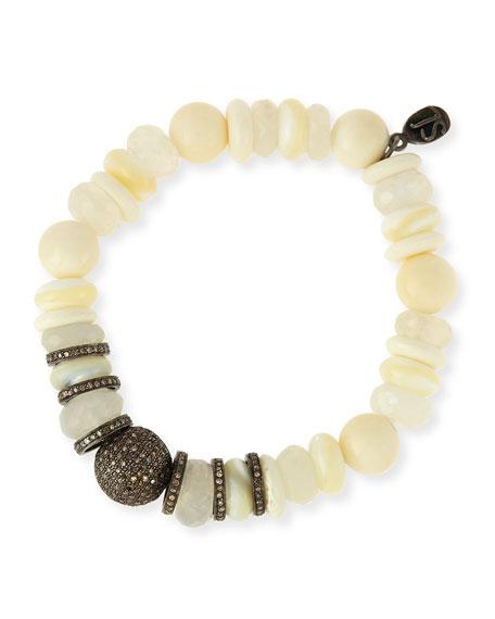 11mm Mixed Bead Bracelet with Pavé Diamonds, White