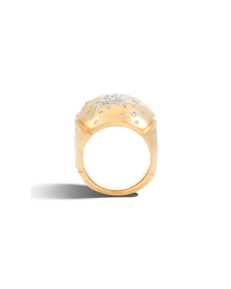 Bamboo 18k Gold Diamond Dome Ring, Size 7