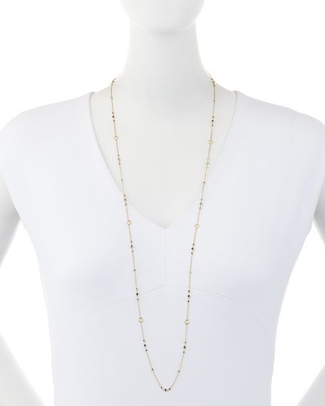 "Delicate Blue Diamond Layering Necklace, 42"""