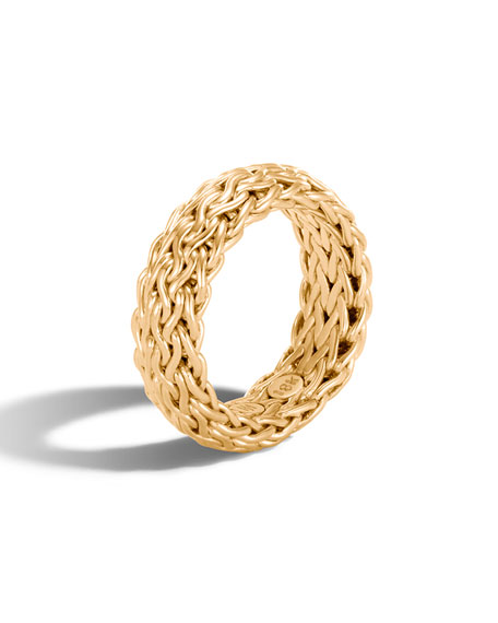 Classic Chain 18k Gold Band Ring, Size 7
