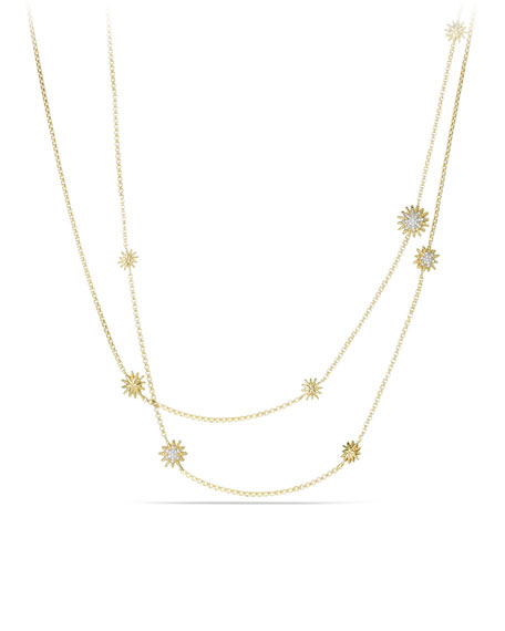 18k Starburst Station Necklace w/ Diamonds, 36""