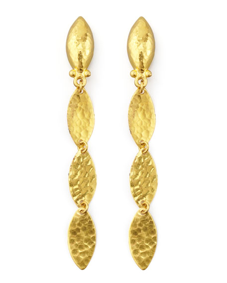 Willow 24k Leafy Drop Earrings
