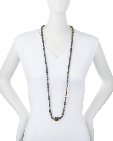 Labradorite & Diamond Station Long Necklace, 45""