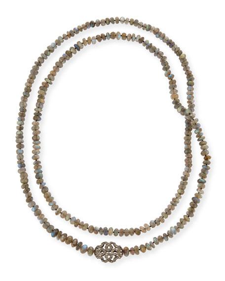 "Labradorite & Diamond Station Long Necklace, 45"""