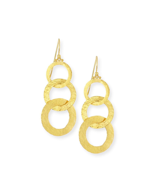 Gurhan Hoopla 24k Gold Triple Drop Infinity Earrings