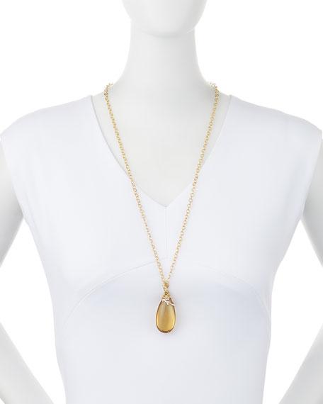 "Twig 18k Gold and Diamond Citrine Pendant Necklace, 30"""