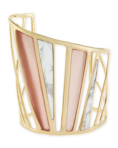 Colorblock Spoke Lucite & Howlite Cuff Bracelet