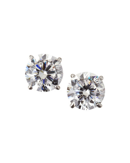 14k White Gold Cubic Zirconia Stud Earrings, 2.0 TCW