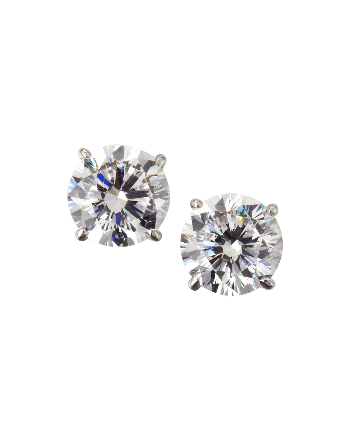 14k White Gold Cubic Zirconia Stud Earrings 2 0 Tcw