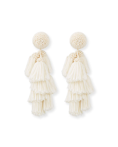 Chacha Fringe Clip Statement Earrings