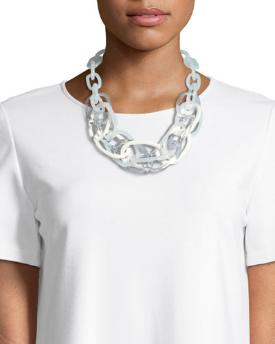 Multicolor Oval Chain Link Statement Necklace