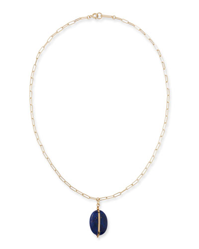 Plated Stone-Pendant Chain Necklace, 21