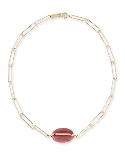 Stone-Pendant Chain Choker Necklace