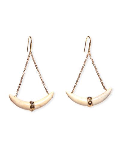 Plated Brass Horn Drop Earrings