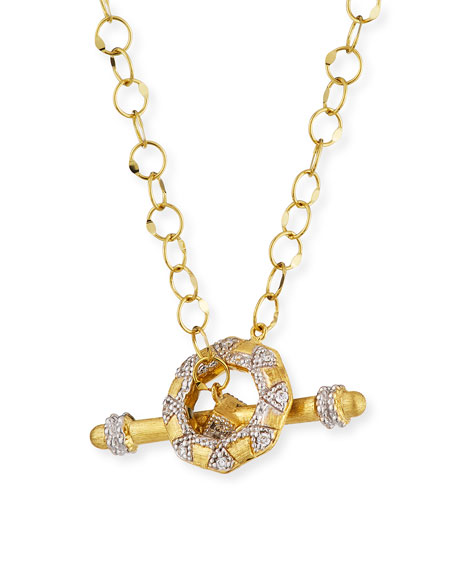 "JUDE FRANCES Lisse 18K Diamond Toggle Necklace, 18""L in Gold"