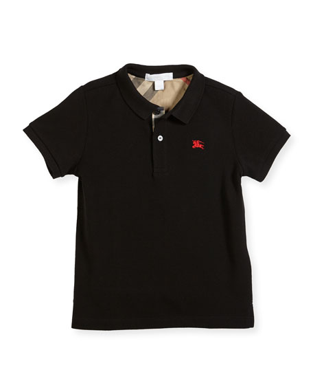Burberry Mini PPM Jersey Polo Shirt, Black, Size