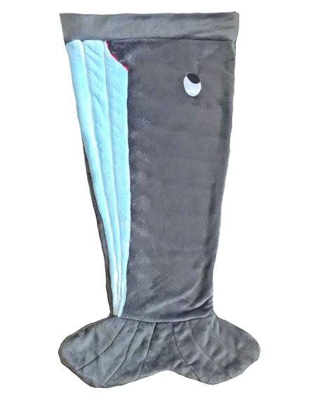 Kids' Plush Whale Tail Blanket, Gray