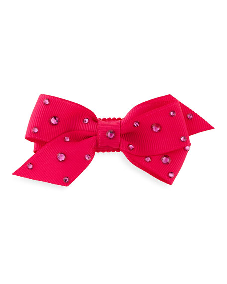 Crystal Mini Snap-Clip Hair Bow, Fuchsia