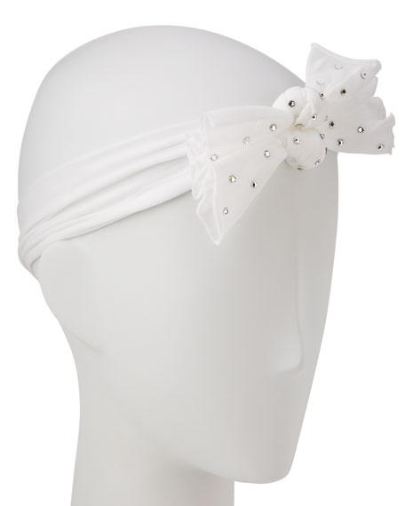 Two-Bow Stretch Rhinestone Headband, White