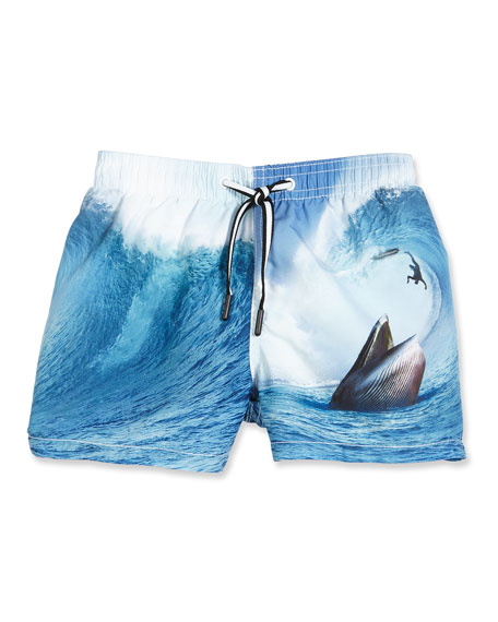 Molo Niko Surfer-Meets-Whale Swim Trunks, Blue Pattern, Size