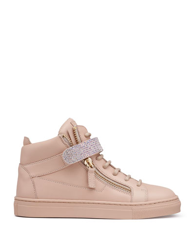 Leather Crystal-Strap High-Top Sneaker, Pink, Youth