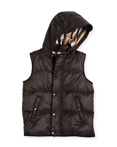 Burberry Carlton Hooded Puffer Vest, Charcoal Gray, Size