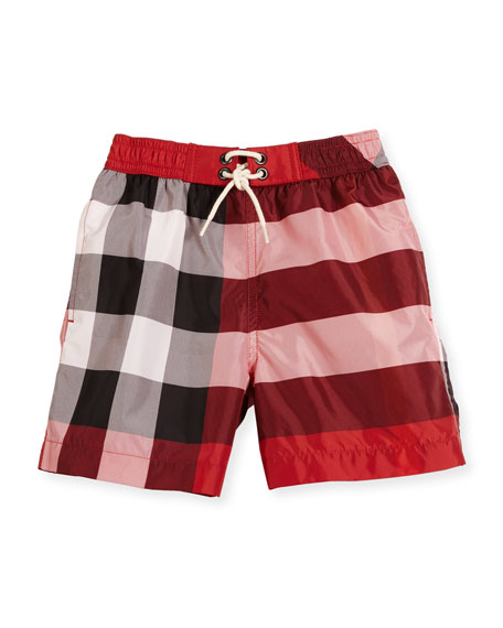 Burberry Jeffries Check Swim Trunks, Red, Size 4-14
