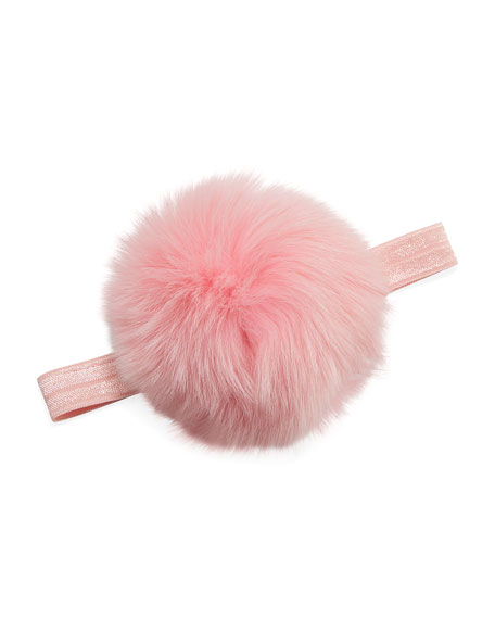 Girl's Fur Pompom Stretch Headband, Pink