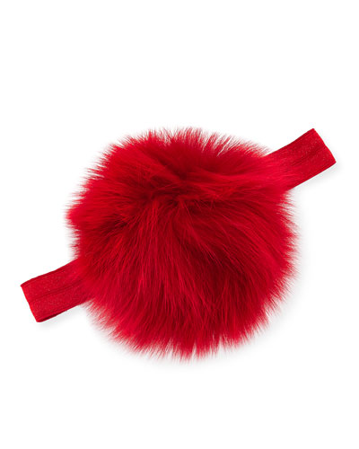Infant Fur Pompom Stretch Headband, Red
