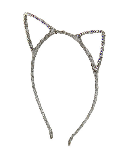 Girls' Glittered Cat-Ear Headband, Silver