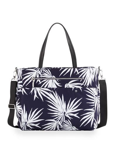 Palm-Print Diaper Bag, Navy
