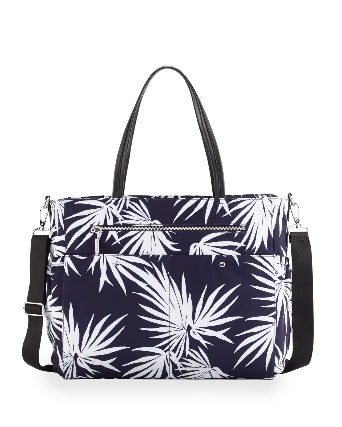 Palm Print Diaper Bag Navy