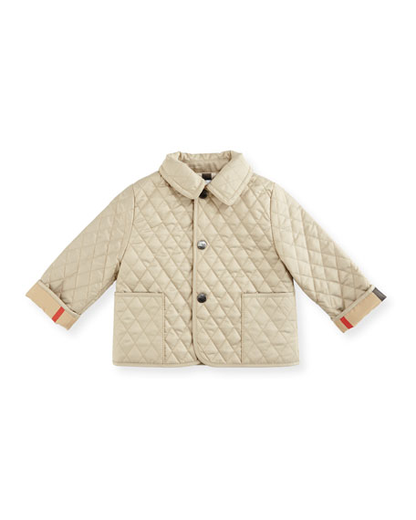 Burberry Colin Quilted Check-Trim Jacket, Beige, Size 6-24