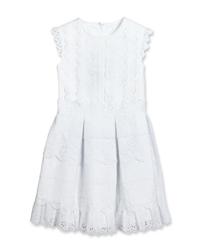 Sleeveless Pleated Cotton Eyelet Dress, White, Size 2-14