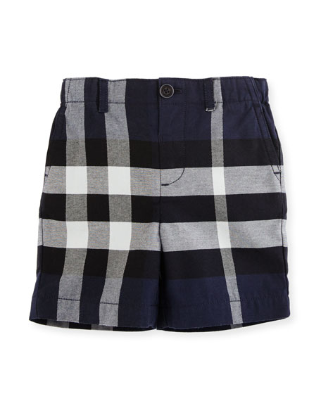 Burberry Sean Cotton Check Shorts, Navy, Size 6M-3