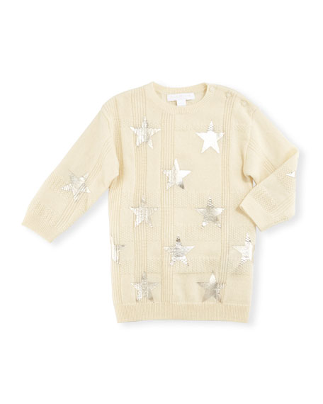 Burberry Kora Check Cashmere Sweater, Ivory, Size 6M-3