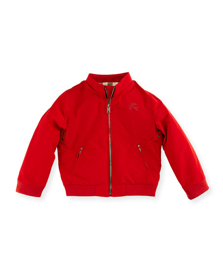 Burberry Bradford Zip-Front Jacket, Red, Size 12M-3