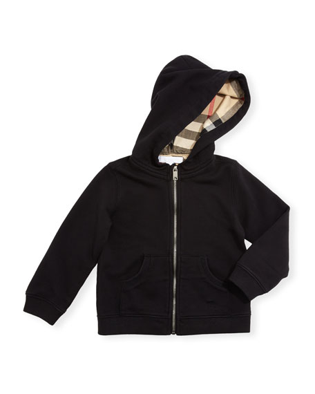 Burberry Pearce Hooded Fleece-Lined Sweater, Black, Size 6M-3