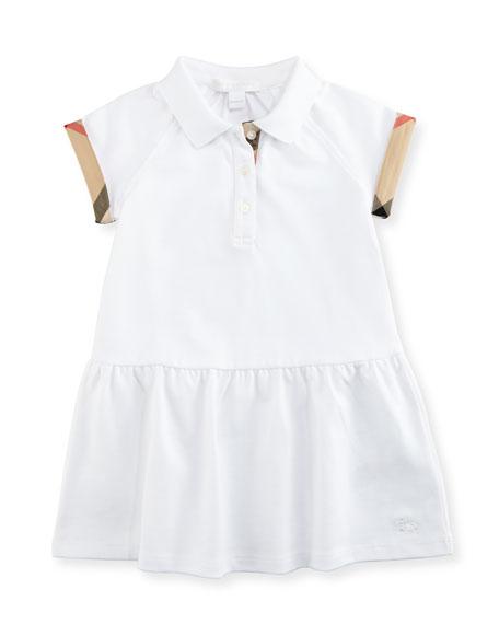 Cali Smocked Raglan Polo Dress, White, Size 6M-3Y