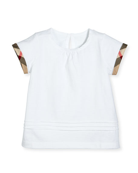 Burberry Gisselle Pintucked Jersey Tee, White, Size 6M-3