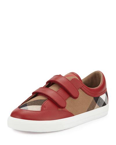 Heacham Check Canvas Sneaker, Red/Tan, Toddler