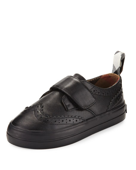Burberry Mostyn Leather Grip-Strap Oxford, Black, Toddler