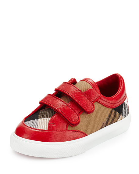 Burberry Heacham Check Canvas Sneaker, Red/Tan, Infant Sizes