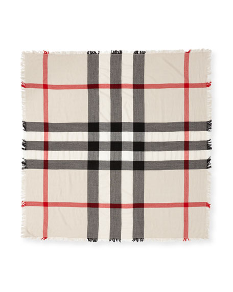 Burberry Kids' Square Check Wool Scarf, Neutral