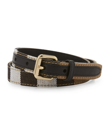 Burberry Kids' Leather Check-Trim Belt, Black/Multicolor
