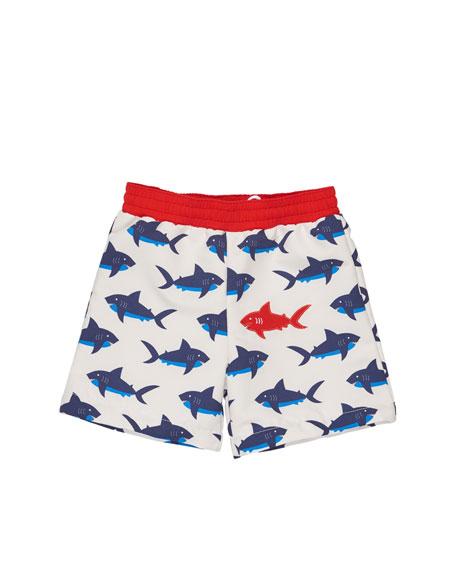 Florence Eiseman Shark-Print Swim Trunks, Blue/White, Size 6-24