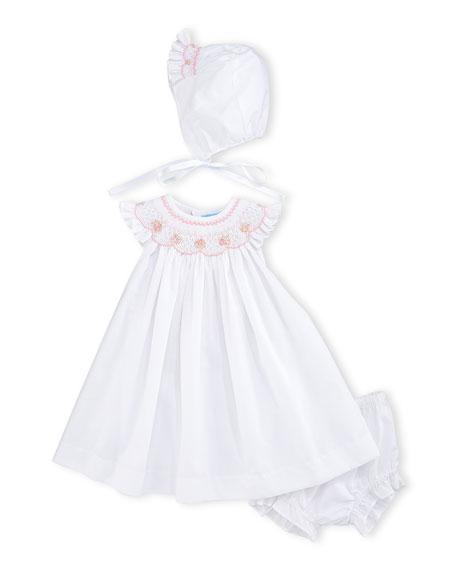 Luli & Me Smocked Bishop Dress Set, White,