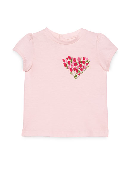 Gucci Cap-Sleeve Flowered Heart Jersey Tee, Pink, Size