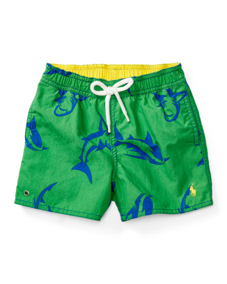 Ralph Lauren Childrenswear Shark Swim Trunks, Green, Size